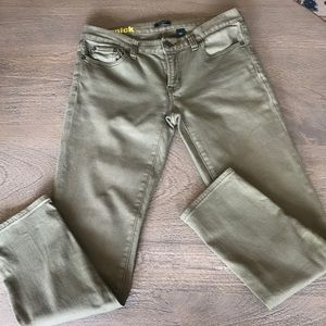 J Crew Army Green Toothpick Jeans